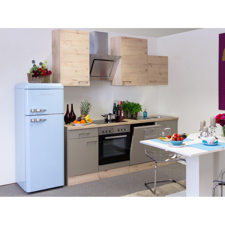 Flex-Well Küchenzeile/Küchenblock Arizona 220 cm Quarz Cubanit-San Remo Eiche