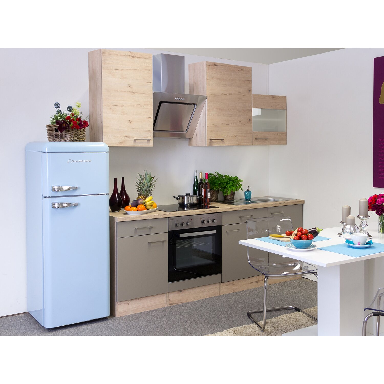 Flex-Well Exclusiv Küchenzeile/Küchenblock Arizona 220 cm Quarz Cubanit-San Remo Eiche hell
