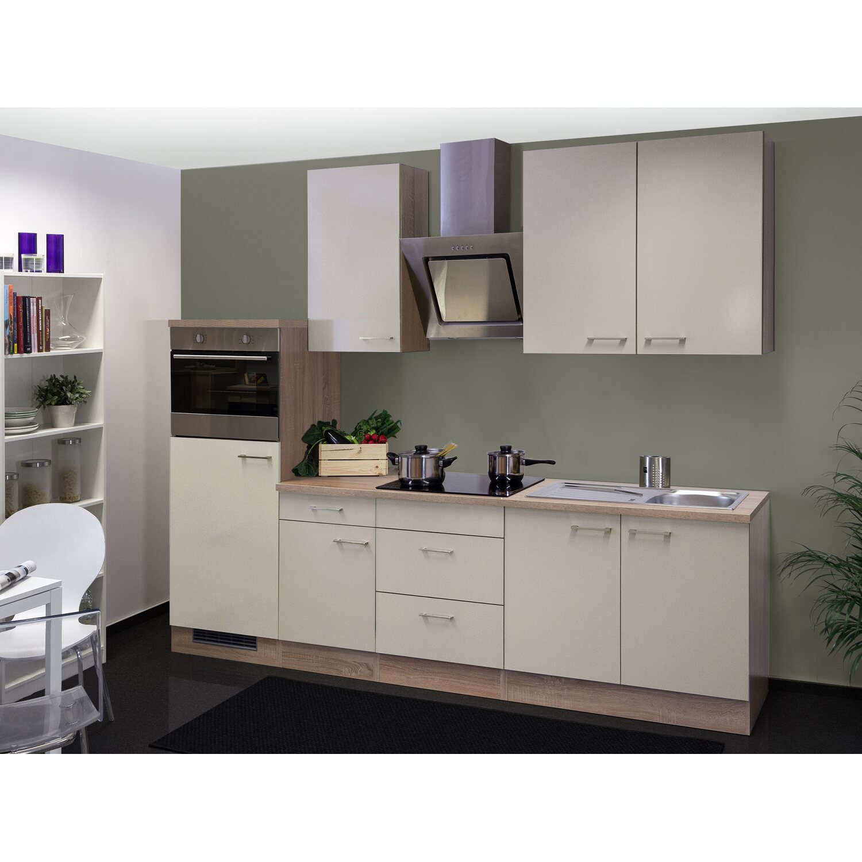 Flex-Well Exclusiv Küchenzeile/Küchenblock Orlando 270 cm Kaschmir Glanz-Sonoma Eiche NB