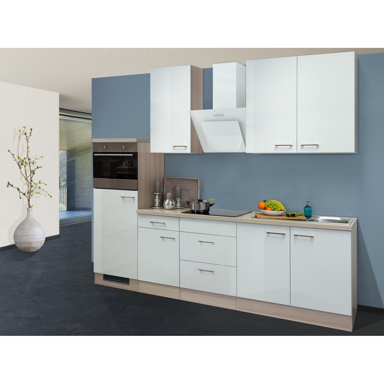 Flex-Well Exclusiv Küchenzeile/Küchenblock Abaco 270 cm Perlmutt glänzend-Akazie NB