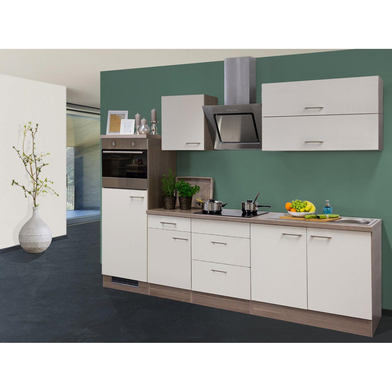 Flex-Well Exclusiv Küchenzeile/Küchenblock Eico 270 cm Magnolienweiß-Tennessee Eiche NB