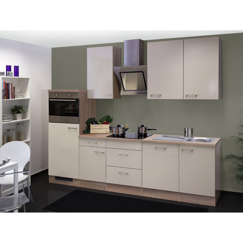 Flex-Well Exclusiv Küchenzeile/Küchenblock Orlando 280 cm Kaschmir Glanz-Sonoma Eiche NB