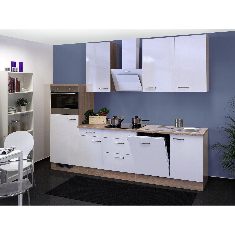 Flex-Well Exclusiv Küchenzeile/Küchenblock Valero 280 cm Hochglanz Weiß-Sonoma Eiche NB