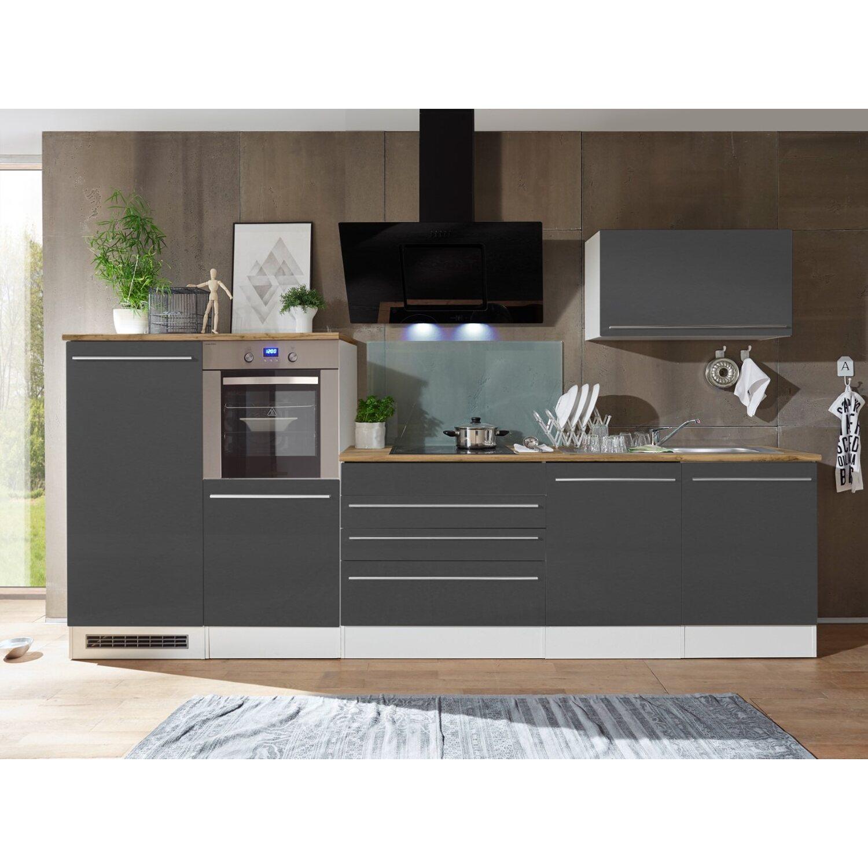Respekta Premium Küchenzeile/Küchenblock 320 cm Grau-Weiß