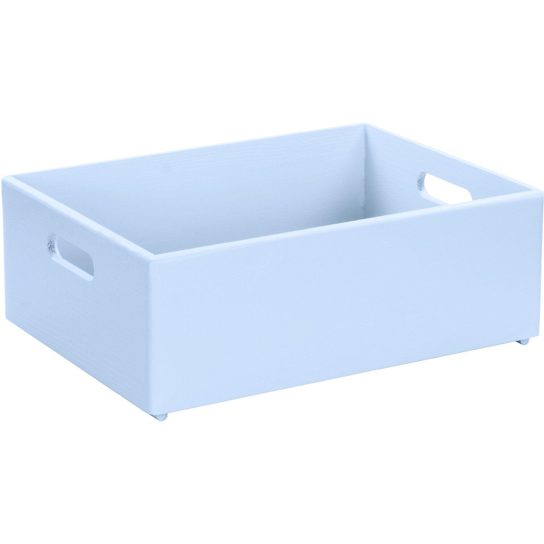 LAUBLUST Holzkiste mit Griffen Blau Kiefer 40 cm x 30 cm x 14 cm FSC®