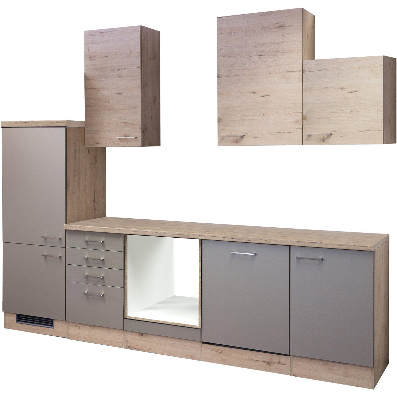 Flex-Well Küchenzeile/Küchenblock Arizona ohne E-Geräte 280 cm Quarz-San Remo Eiche