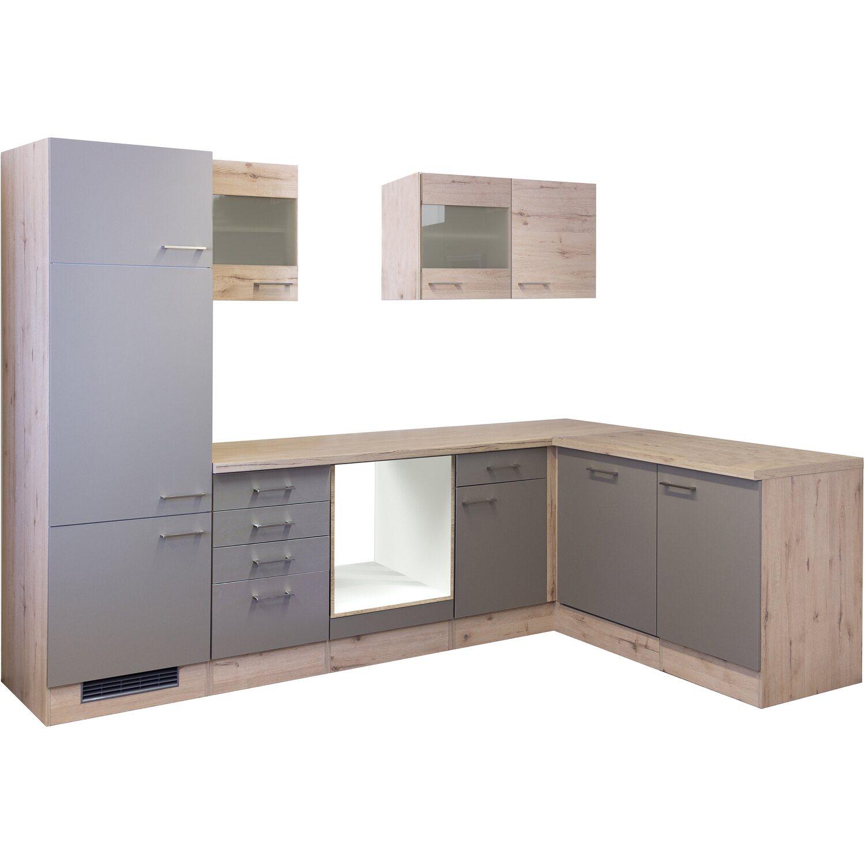 Flex-Well Winkelküche/L-Küche Arizona ohne E-Geräte 280 cm Quarz-San Remo Eiche