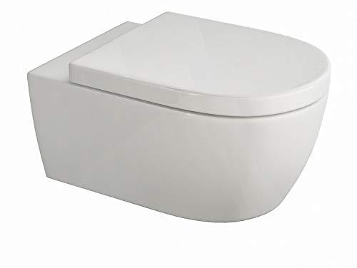 SSWW | Design Hänge WC | Spülrandlose Toilette | Wand-WC | WC-Set | Inkl. abnehmbaren WC-Sitz mit Softclose Absenkautomatik | Kurz | 485 x 365 x 330 mm