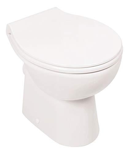 Calmwaters® - Spülrandloses Stand-WC mit waagerechtem Abgang als Tiefspüler im Set mit WC-Sitz - 07AB3132
