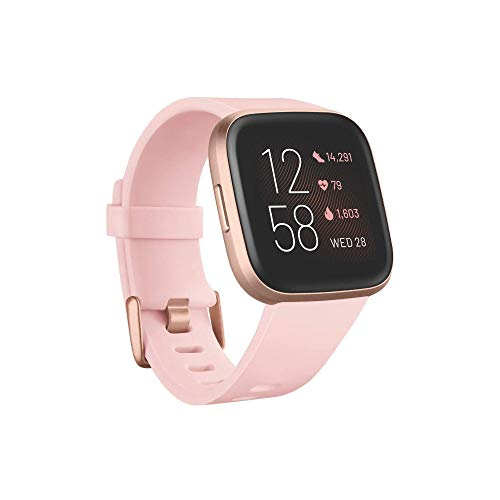 Fitbit Versa 2 – Gesundheits- und Fitness-Smartwatch mit Sprachsteuerung, Schlafindex und Musikfunktion, Crème/Kupferrosé, mit Alexa-Integration