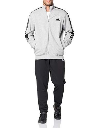 adidas Herren M 3S FT TT TS Trainingsanzug, top:medium Grey Heather/Black Bottom:Black/White, 9