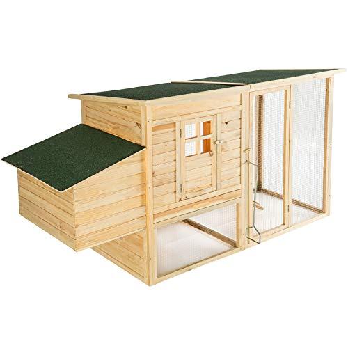 TecTake 403228 XXL Hühnerstall mit Auslauf und Nistkasten, ausziehbarer Boden, wasserabweisend, aufklappbare Dachelemente, 198 x 75 x 102 cm