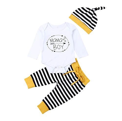 Geagodelia 3tlg Babykleidung Set Baby Jungen Langarm Body + Hose + Mütze Kleinkinder Neugeborene Weiche Warme Baumwolle Babyset Bekleidung (6-12 Monate, Mama's Boy (Weiß + Schwarz Streifen))