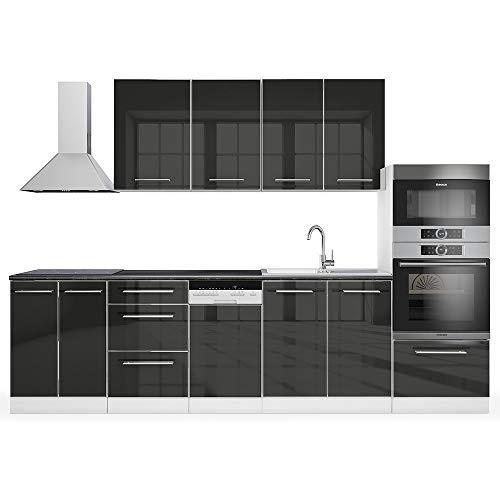 Vicco Küche S-Line Küchenzeile Küchenblock Einbauküche 295cm Anthrzit Hochglanz