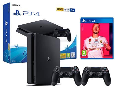 PS4 Slim 1TB schwarz Playstation 4 Konsole + FIFA 20 + 2 DualShock 4 Controller