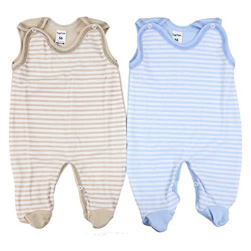 TupTam Unisex Baby Strampler Baumwolle Gemustert 2er Set, Farbe: Farbenmix 3, Größe: 62