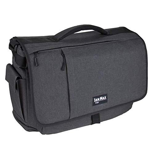 Jan Max Kameratasche, Fototasche für SLR DSLR Spiegelreflex Kamera, 17 Zoll Laptoptasche, Arbeitstasche, Dunkelgrau/Schwarz