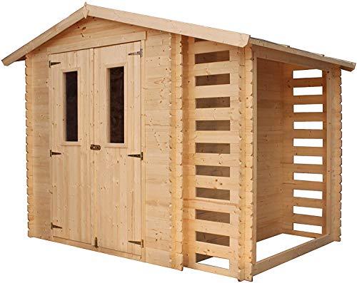 TIMBELA Gartenhaus Holz Mit Brennholzschuppen M386C - Geräteschuppen Holz B272xL206xH218 cm/ 3,53 + 0,97 m2 Lagerschuppen - Fahrradgarage Holz Wasserfestes Dach
