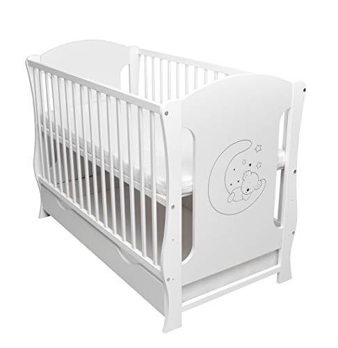 Babybett Schublade umbaubar Juniorbett Sofa inkl. Matratze 120x60cm weiß MOND