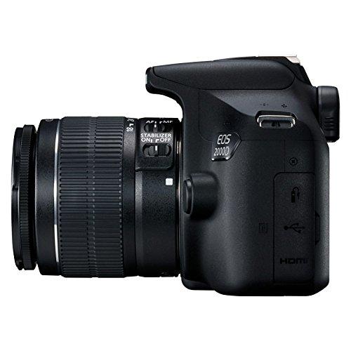Canon EOS 2000D Spiegelreflexkamera - mit Objektiv EF-S 18-55 F3.5-5.6 IS II (24,1 MP, DIGIC 4+, 7,5 cm (3.0 Zoll) LCD, Display, Full-HD, WIFI, APS-C CMOS-Sensor), schwarz