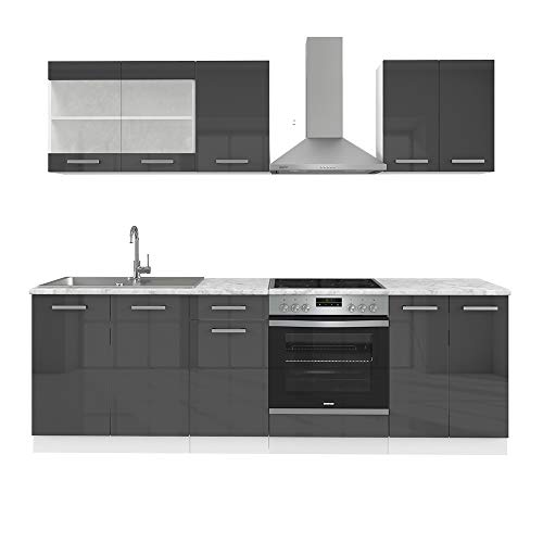 Vicco Küche Raul Küchenzeile Einbauküche 240cm Inklusive E Geräte Constructa KOCHFELD/BACKOFEN/DUNSTABZUGSHAUBE (Anthrazit Hochglanz)
