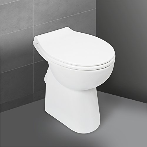 'aquaSu® Stand WC spülrandlos mit +7 cm Erhöhung, Komplett-Set mit Toilettendeckel mit Absenkautomatik, Tiefspüler mit waagerechtem Abgang, erhöhte Toilette ohne Spülrand, Komfort WC Weiß, 57227 9
