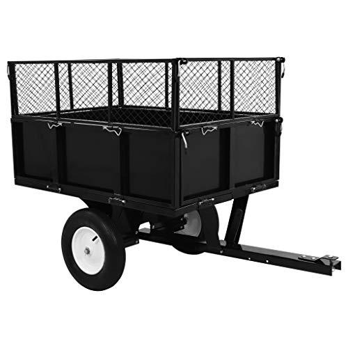 vidaXL Kippanhänger für Rasentraktor Gartenanhänger Gartenwagen Transportwagen kippbarer Anhänger 300 kg Last