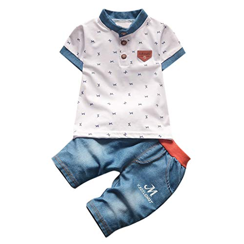2 Stck Kleinkind Junge Kurzarm T-Shirt und Kurze Hose Outfits Sets
