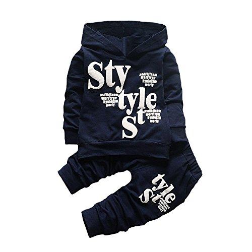 Kinderkleidung 2 stück Set Kleidung Kleinkind feiXIANG Brief drucken Sweatshirt mit Kapuze Tops Hosen Jungen Langarm Outfits(Marine, 110)