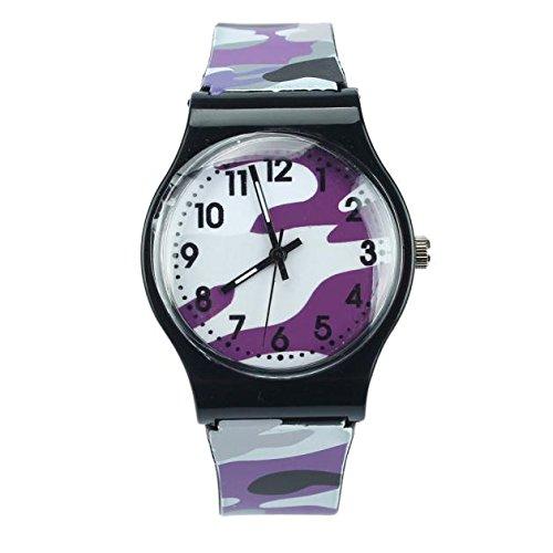 Hochwertige Kindermode Camouflage Simulation Quarz Junge Mädchen Uhr lässig Sport Gummi Kinder Geburtstagsgeschenk (Purple)