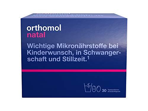 Orthomol natal 30er Granulat& Kapseln - Folsäure Kombi für Frauen mit Kinderwunsch, in der Schwangerschaft & Stillzeit