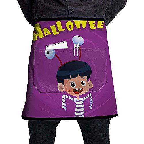 Reredith Halloween-Poster mit Kindertracht Halblange Halbe Schürze mit Taschen Unisex für Küchenrestaurant BBQ