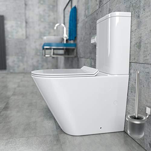 KERABAD Randlose Stand-WC Kombination Spülkasten WC-Sitz Duroplast mit Absenkautomatik SoftClose-Funktion für waagerechten und senkrechten Abgang Randlos KB6093B-U
