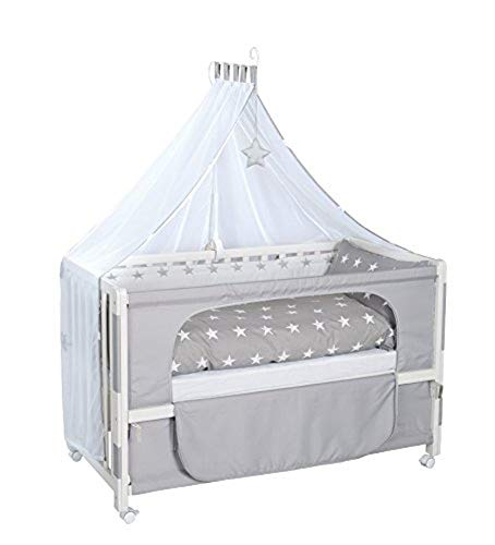 roba Beistellbett, Roombed, Babybett, Anstellbett zum Elternbett mit kompletter Ausstattung, weiß