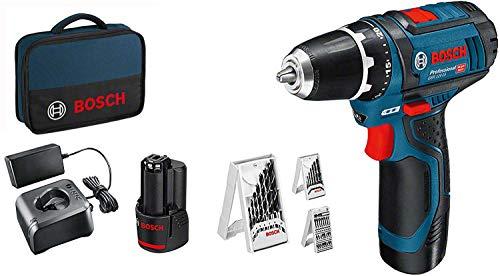 Bosch Professional 12V System Akkuschrauber GSR 12V-15 (inkl. 2x2,0 Akku + Ladegerät, 39tlg.-Zubehör-Set, in Tasche) - Amazon Exclusive