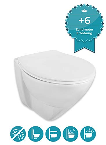 Calmwaters® erhöhtes Wand-WC mit 6 cm Erhöhung im Set mit WC-Sitz Modern Plus, Tiefspüler, Hänge-Toilette, Duroplast-Deckel mit Soft Close Absenkautomatik, Fast-Fix Schnellbefestigung, 08AB5563