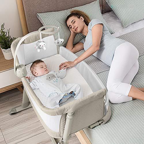 ADOVEL 2 in 1 Babybett, Beistellbett Baby und Freistehendes Kinderbett, Baby Bett mit Rollen, Matratze, Musik und Spielzeug, Beistellbetten für Boxspringbett
