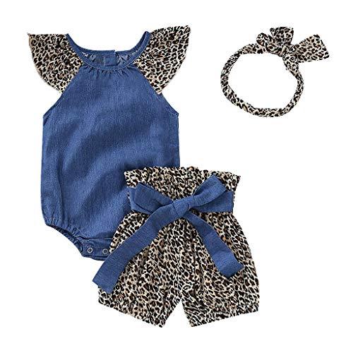 i-uend Mädchen Baby Sommer Mode niedlich ärmellose einfarbig Denim Kleidung + Leopard Bogen Hose + Haarband dreiteilig