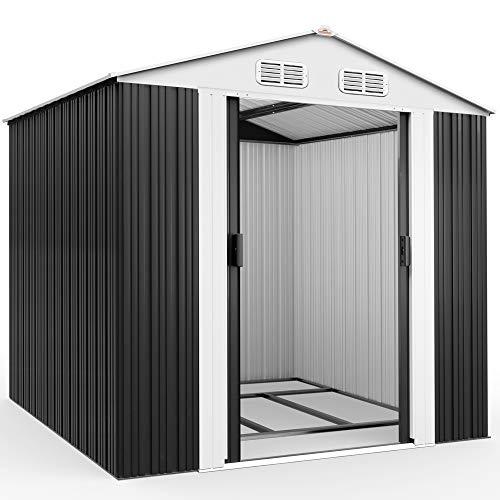 Deuba XXL Metall Gerätehaus 5m² mit Fundament 257x205x177,5cm Schiebetür Anthrazit Geräteschuppen Gartenhaus 8,4m³