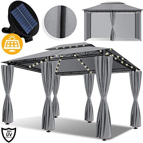 KESSER® - Pavillon 3x4m LED inkl. Seitenwände mit Reißverschlüsse, mit LED Beleuchtung + Solarmodul, Eckig Festzelt Partyzelt Gartenlaube Gartenzelt Gartenpavillon UV-Schutz 50+, Grau