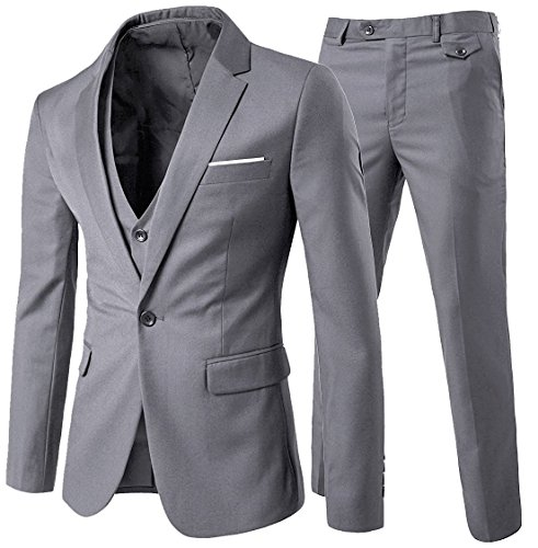 YOUTHUP Herren Anzug Regular Fit Business Anzüge 3-Teilig Anzugjacke Anzughose Weste