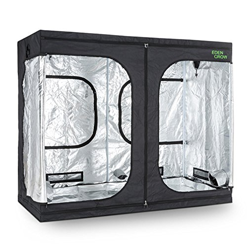 OneConcept Eden Grow XL - Growschrank, Growzelt, Growbox, Größe L, 240x120x200 cm, 2 x Belüftungszugang, Zuluftklappen, lichtundurchlässiges Gewebe, reflektierende Innenbeschichtung, schwarz