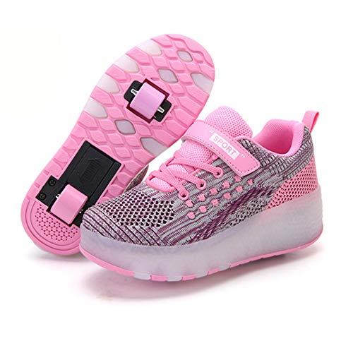 MNVOA Unisex Kinder Mode USB LED Schuhe mit Rollen Drucktaste Einstellbare Skateboardschuhe Outdoor Gymnastik Turnschuhe Für Junge Mädchen,Rosa,37EU