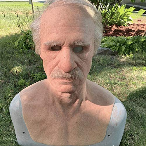 Yusea Halloween Latex Vollmaske, Alter Mann Latex, The Elder Old Man Kopfbedeckung für Realistische Masquerade Halloween Menschlichen Kopfbedeckung Alter Mann Kopfbedeckung