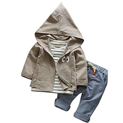 Hirolan 3 Stück Outfits Kleinkind Kind Bekleidungssets Baby Mädchen Jungen Streifen T-Shirt + Kapuzenpullover Mantel + Hosen Kleider Kinderkleidung Babyausstattung (Grau, 90)