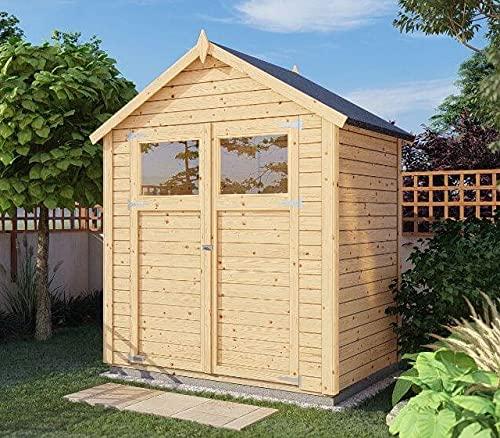 Alpholz Gerätehaus Alisha aus Fichten-Holz | Gartenhaus mit 14mm Wandstärke | Holzhaus inklusive Montagematerial | Geräteschuppen Größe: 202 x 131 cm | Satteldach