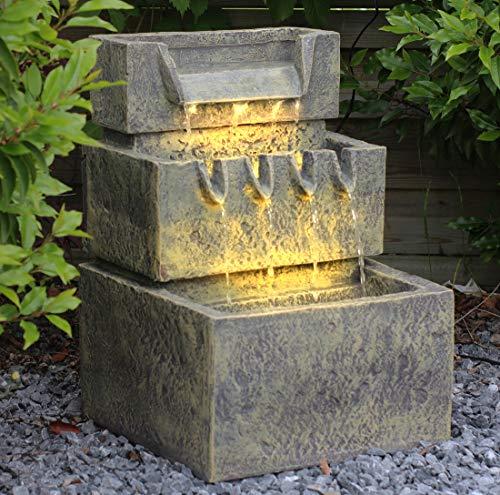 Arnusa Springbrunnen SB113 mit Beleuchtung Gartenbrunnen Wasserfall Terrassenbrunnen Balkonbrunnen
