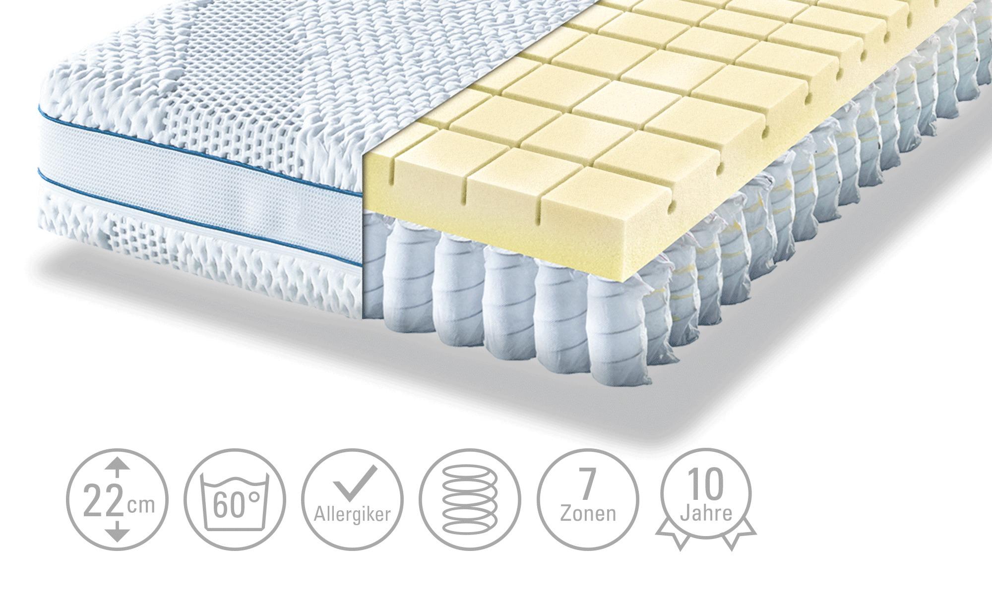 Möve Möve Matratze  Aqua Top T - weiß - 90 cm - 22 cm - Matratzen & Zubehör > Federkernmatratzen - Möbel Kraft