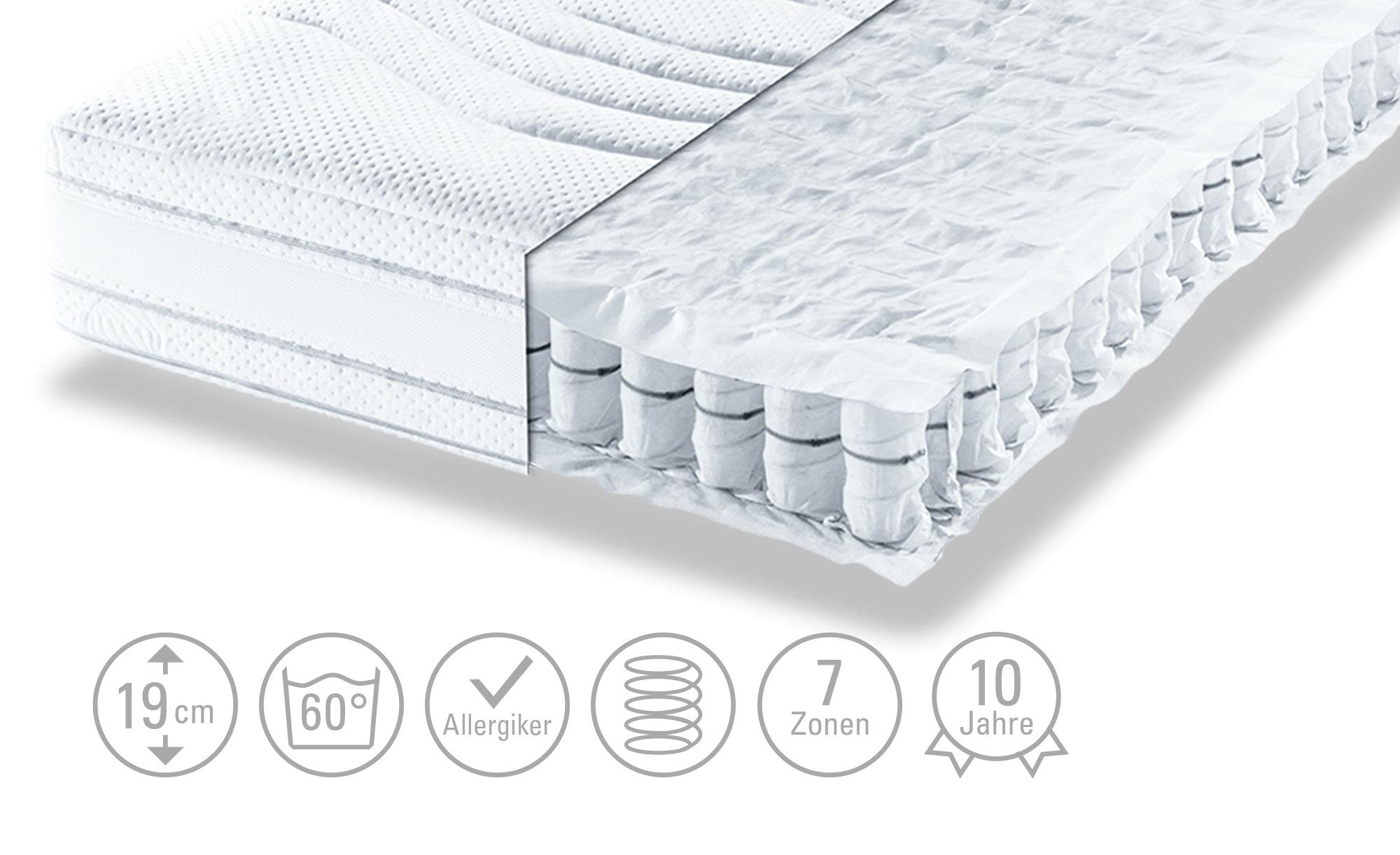 Tonnentaschenfederkern-Matratze, bis 150 kg - weiß - 80 cm - 19 cm - Matratzen & Zubehör > Federkernmatratzen - Möbel Kraft