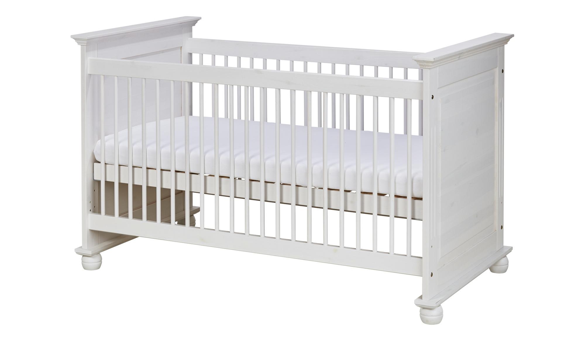 Massivholz-Babybett - weiß - 85 cm - 93 cm - 85 cm - Baby > Babymöbel > Babybetten - Möbel Kraft